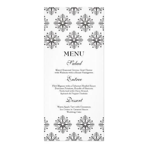 Noir + menu blanc de nourriture de mariage d'hiver double carte en  couleur