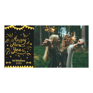 Noir moderne de fête de bonne année et photo d'or photocartes personnalisées