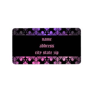 Noir pourpre de rose de motif de Fleur de lis Étiquettes D'adresse