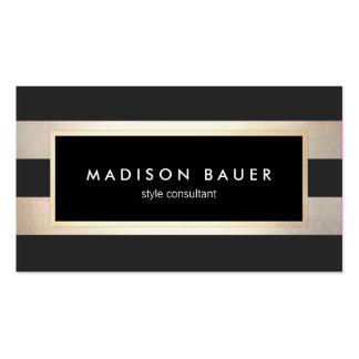 Noir rayé chic moderne et feuille d'or 2 de FAUX Carte De Visite Standard