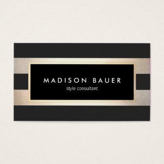 Noir rayé élégant moderne et feuille d'or 2 de cartes de visite