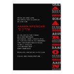 Noir rouge de barre d'Aaron d'invitation moderne