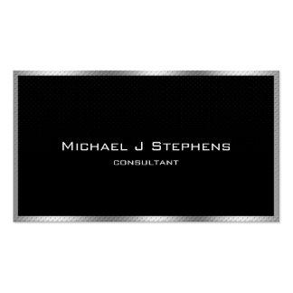 Noir simple élégant et chrome carte de visite standard