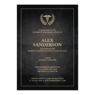Noir simple et obtention du diplôme médicale de carton d'invitation  12,7 cm x 17,78 cm
