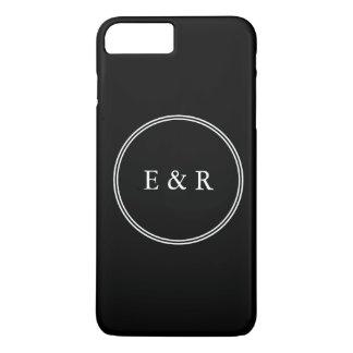 Noir solide avec le détail blanc de mariage coque iPhone 7 plus