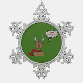 Noisey Rudolph Design Snowflake Pewter Christmas Ornament