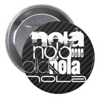 Nola; Black & Dark Gray Stripes 3 Inch Round Button