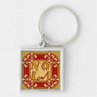 NOLA Fleu De Lis Silver-Colored Square Keychain