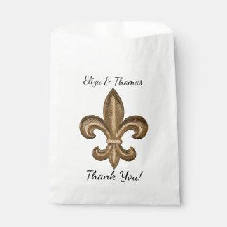 Nola Gold French Fleur De Lis Wedding Thank You Favour Bag