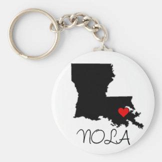 NOLA heart Basic Round Button Keychain