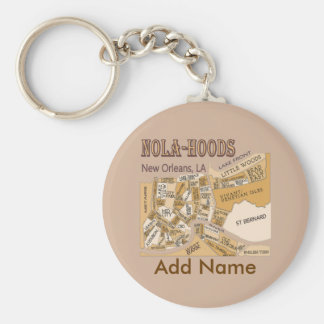 NOLA Hoods Key, NAME Basic Round Button Keychain