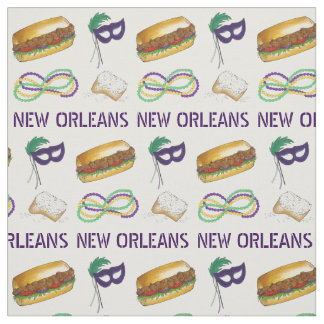 NOLA New Orleans Louisiana Mardi Gras Beads Mask Fabric