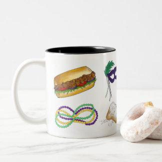 NOLA New Orleans Mardi Gras Beads Beignet Gift Mug