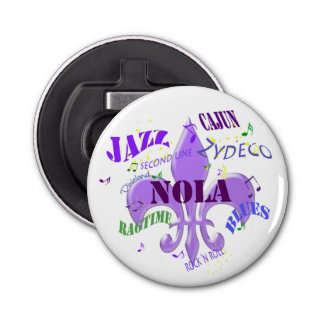 NOLA New Orleans Music Button Bottle Opener