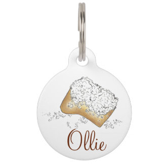 NOLA New Orleans Sugary Beignet Pastry Dog Pet Tag