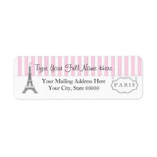Nom blanc de Tour Eiffel du rose | Paris Étiquette D'adresse Retour