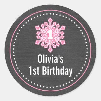Nom d'anniversaire d'Onederland d'hiver lunatique Sticker Rond
