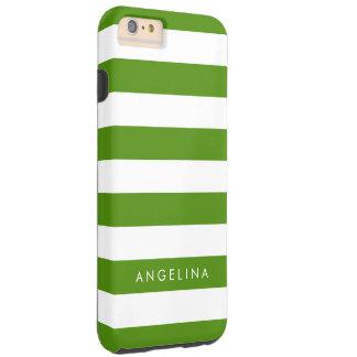 Nom vert et blanc de Kelly de motif rayé de Coque iPhone 6 Plus Tough