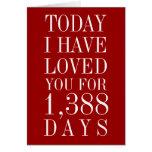 Nombre personnalisé de jours je vous ai aimés cart cartes de vœux