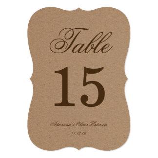 Nombre rustique de Tableau de mariage de papier Carton D'invitation 12,7 Cm X 17,78 Cm