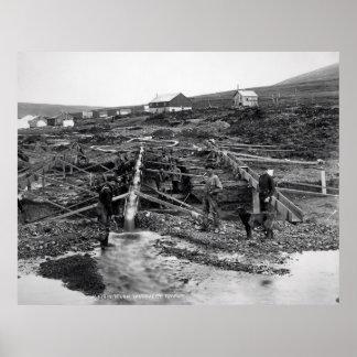 NOME ALASKA GOLD SLUICING 1916 POSTER