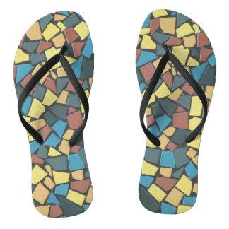 Non-figurative Mosaic Flip Flops
