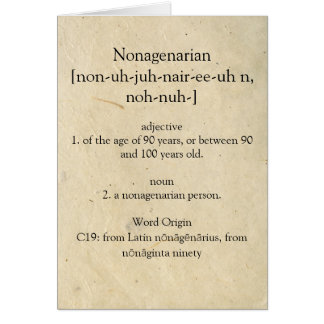 Nonagenarian Dictionary Meaning Happy 90th Card