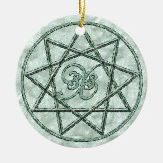 Nonagram in Stone Ceramic Ornament