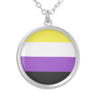 Nonbinary Pride Flag Silver Plated Necklace