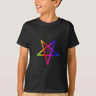 Nonbinary transgender inverted rainbow pentagram T-Shirt