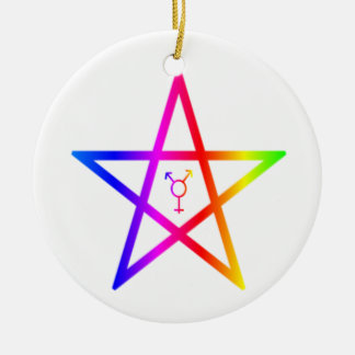 Nonbinary transgender rainbow pentagram round ceramic ornament