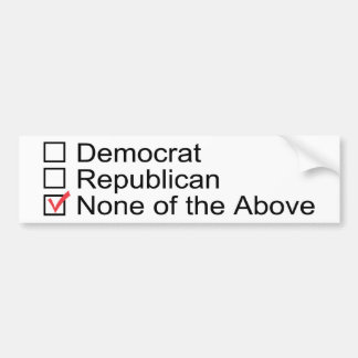 None of the Above bumper stickers