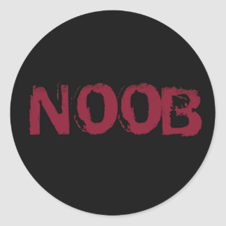 NOOB Text on black Classic Round Sticker