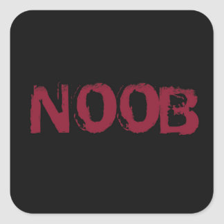 NOOB Text on black Square Sticker
