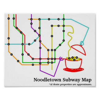 Noodles Underground Map Poster