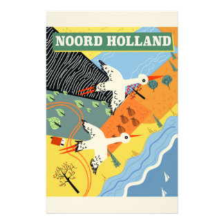 Noord Holland vintage style travel poster Stationery