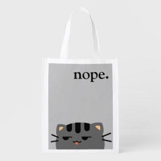 Nope Kitty Reusable Grocery Bag