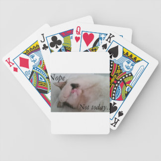 """""""Nope not today"""" sleepy cat hiding eyes Bicycle Playing Cards"""
