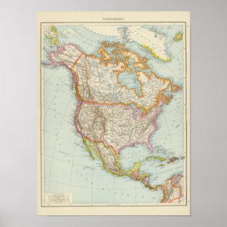 Nordamerika - North American Map Poster
