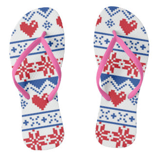 Nordic Christmas in Red & Blue Flip Flops