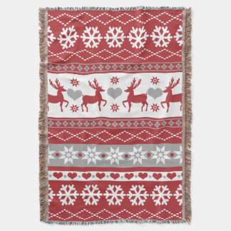 Nordic Christmas Reindeer Love Throw Blanket