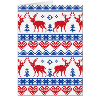 Nordic Christmas Reindeer Pattern Card