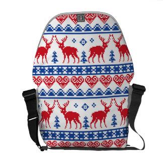Nordic Christmas Reindeer Pattern Commuter Bags