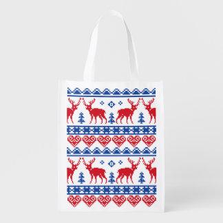 Nordic Christmas Reindeer Pattern Grocery Bag