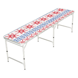 Nordic Christmas Snowflake Borders Beer Pong Table