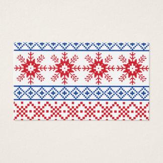 Nordic Christmas Snowflake Borders Business Card