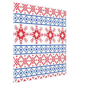Nordic Christmas Snowflake Borders Canvas Print