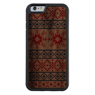 Nordic Christmas Snowflake Borders Carved Walnut iPhone 6 Bumper Case
