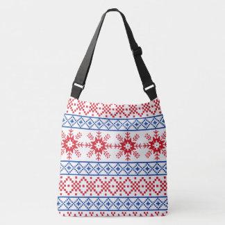Nordic Christmas Snowflake Borders Crossbody Bag