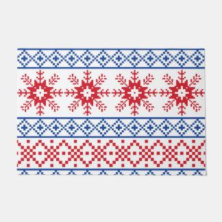 Nordic Christmas Snowflake Borders Doormat